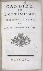 Voltaire, Candide, 1759. (Fonte: www.indiana.edu)