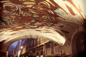 Opera di Street Art della GAU a Calçada da Glòria, Lisbona.